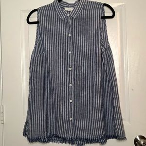 BeachLunchLounge Striped Button Down Blouse Navy M